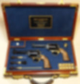 John Linebaugh Custom Sixguns super grade brace, cased set .50 caliber and .475 caliber, Marvin Huey box