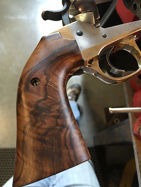 fancy walnut grips by PJ Nelson, brass grip frame, 50 caliber handgun, Linebaugh Custom Sixguns
