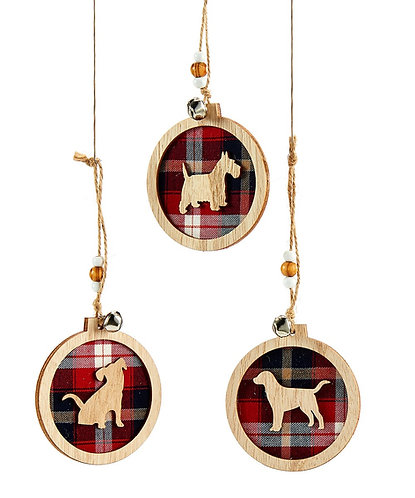 Winter Wonderland Collection- plaid dog ornaments