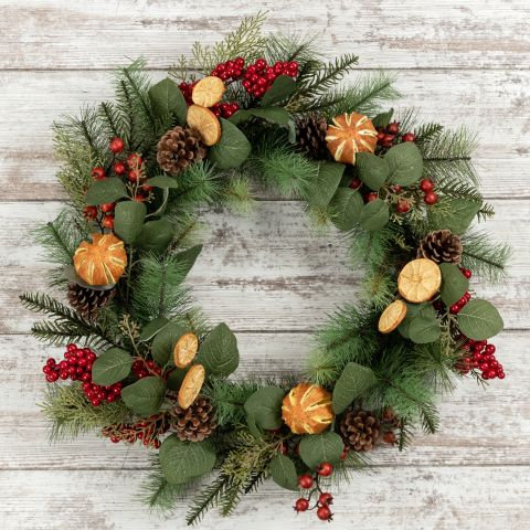 Winter Wonderland Collection- pine eucalyptus orange holiday wreath