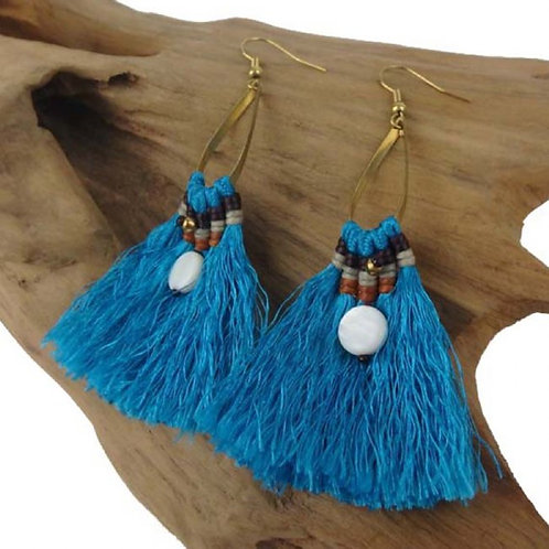 Sanibel Collection - turquoise fringe earrings