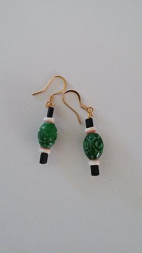 Caribbean Collection- green glazed earrings