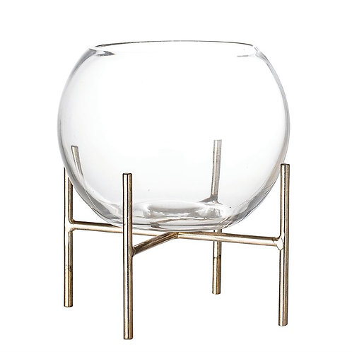 Delray Collection- glass bowl planter & stand