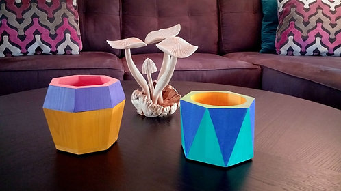 Miami Collection- modern geometric wood planter