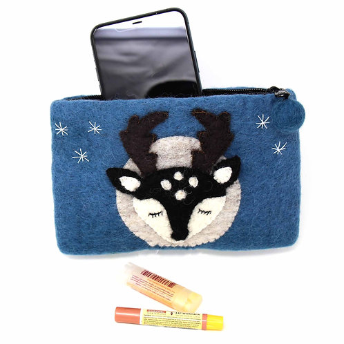 Forest Collection- big buck felted coin purse