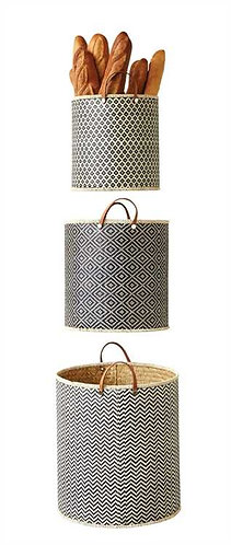 Delray Collection- black woven palm leaf baskets