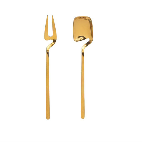 Palm Beach Collection- gold pickle fork & jam spoon