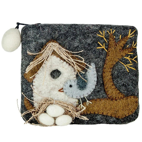 Forest Collection- bird felted coin purse