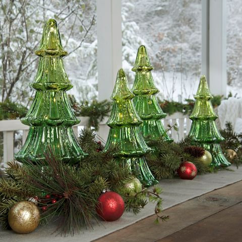 Holly Jolly Collection- illuminate green glass trees