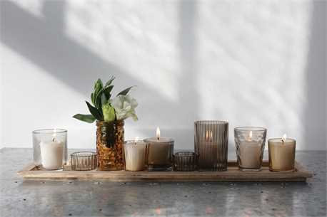 Miami Collection- wood tray with glass votives