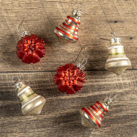 Holly Jolly Collection- glass bell and snowflake ornament set