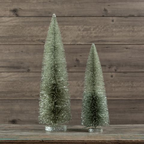 Winter Wonderland Collection- silver sparkle bottlebrush trees