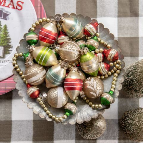 Holly Jolly Collection- red and green striped ornament set