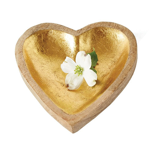Miami Collection- gilded gold wood heart bowl