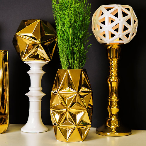 Miami Collection- Gold Geometric Vase