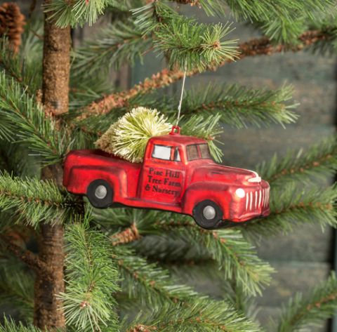 Holly Jolly Collection- red truck Christmas ornament