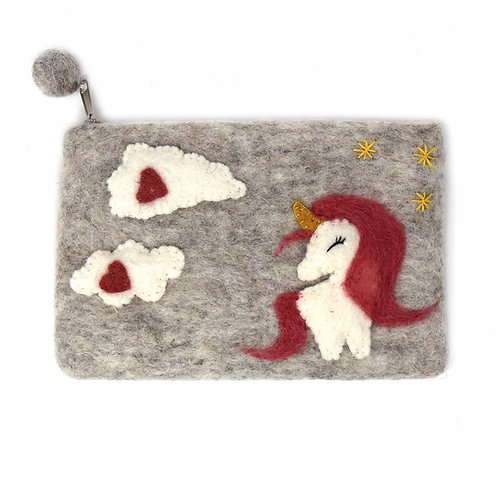 Forest Collection- happy unicorn felted coin purse