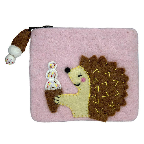 Forest Collection- hedgehog felted coin purse
