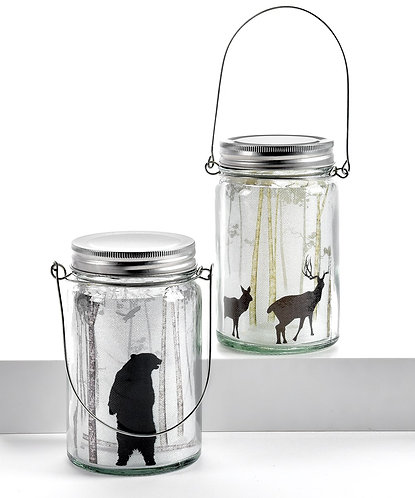 Winter Wonderland Collection- LED woodland scene mason jars
