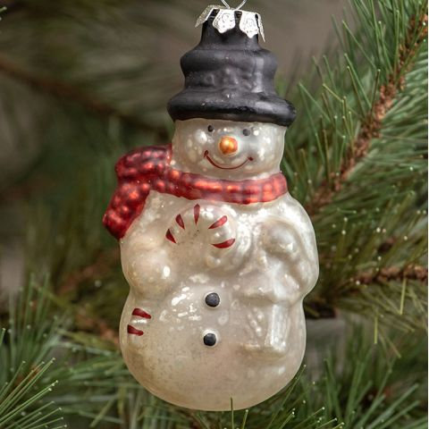 Holly Jolly Collection- glass snowman ornament
