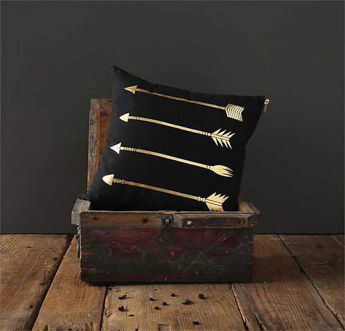 Miami Collection- black & gold arrow pillow