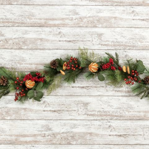 Winter Wonderland Collection- pine eucalyptus orange holiday garland