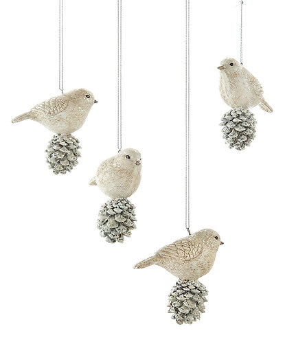 Winter Wonderland Collection- bird and pine-cone ornament