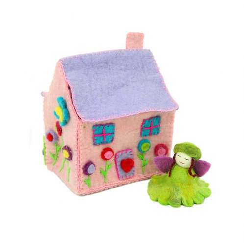 Enchanted Collection- felted fairy house & jade fairy