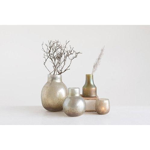 Tequesta Collection- green iridescent glass vase