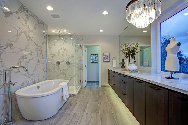White and gray calcutta marble bathroom