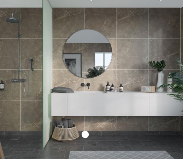 Golden Brown Marble Scandinavian Tile Effect