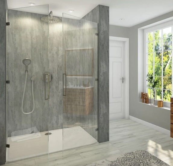 LARGE ABSTRACT BRUSHED SILVER SHOWER PANEL 1.0M X 2.4M