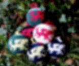 Hand Knitted Baubles, dragons, design, craft, wool, Made in England, UK