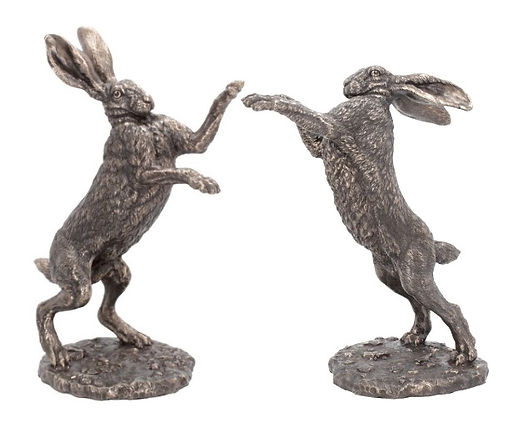 Boxing hares bronze resin Andrew Bill sculpture art country wildlife