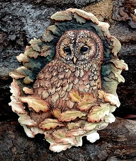 Tawny Owl Plaque, natural colours by Andrew Bill Sculpture