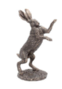 Boxing Hare resin bronze, Andrew Bill, sculpture, art, wildlife country,
