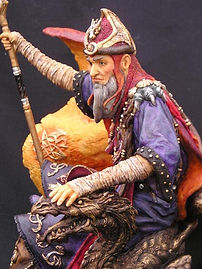 Andrew Bill's sculpture of the Dragonmaster wizard