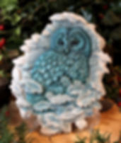 Tawny Owl Plaque in Teal Colourway
