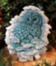 Owl Plaque by Andrew Bill Sculpture, Teal coloured