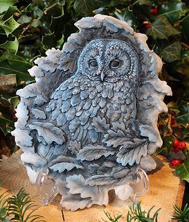 Tawny Owl Plaque, Moonlight Colourway
