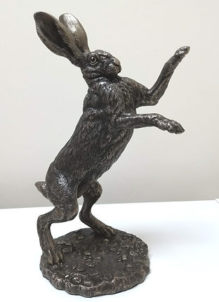 Hare boxing bronze resin