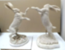 Hares boxing wax Andrew Bill sculpture country art wildlife