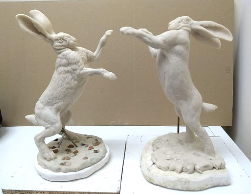Hares boxing wax