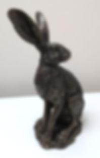 Hare sitting bronze resin