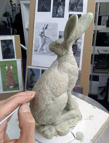 Hare sitting wax