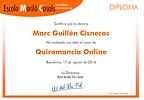 Ejemplo de certificado de estudios de Tarot que se entraga al finalizar el curso de Tarot Online en la Escola Marió Casals