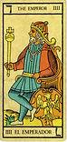 Carta de El Emperador de los Arcanos Mayores del Tarot de Marsella