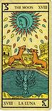 Carta de La Luna de los Arcanos Mayores del Tarot de Marsella