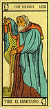 Carta de El Ermitaño de los Arcanos Mayores del Tarot de Marsella