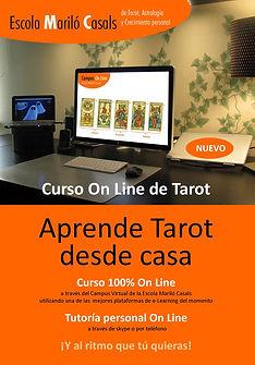 Portada del diptico del Curso de Tarot a distancia del Campus Online de la Escola Mariló Casals